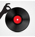 Vinyl record disc with hand isolated on light vector