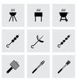 Black barbecue icon set vector