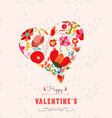 Happy valentines day with heart flowers floral vector