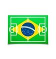 Green soccer field brazil flag vector