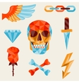 Skull and elements with colored geometric design vector