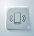 Ringing phone the call glass square icon vector