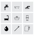 Black bathroom icon set vector