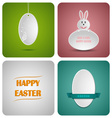 Happy easter decoration card made from white paper vector