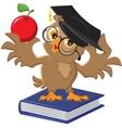 Owl holding an apple vector
