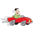 Cartoon man driving a car vector