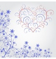Blue grunge flower with heart vector