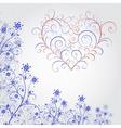 Blue grunge flower with heart vector