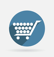 Circle blue icon with shadow cart online store vector