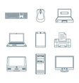 Dark outline computer gadgets icons vector