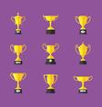 Golden trophy icons set vector