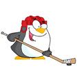 Happy penguin playing ice hockey vector