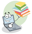 Laptop guy holding books vector