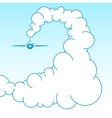 Plane in the sky in the clouds vector