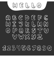 Hand drawn doodle font in sketch style vector