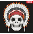 Human skull with indian chief hat vector