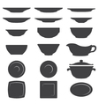 Plates and dishes silhouette set vector
