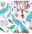 Retro spring birds pattern vector