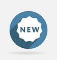 Label new circle blue icon with shadow vector