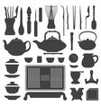 Tea ceremony equipment silhouette set vector