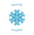 Aquarelle snowflake hand drawn watercolor winter vector