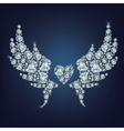 Heart with wings made a lot of diamonds vector