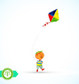 Boy with kite watercolor vector