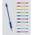 Set of gel pens vector
