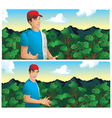 Man talking in coffee field vector