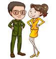 A coloured sketch of a pilot and an air hostess vector