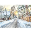 Painting of beautiful winter in the country vector