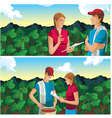 Farmer man and woman in coffee field mountains vector
