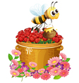 A basket of red roses and a bee with a pot of vector