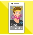 Selfie of funny guy with hand drawings vector