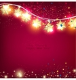 Red christmas background with luminous garland vector