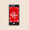 Happy valentines day with hearts red color phone vector