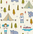 Seamless pattern with scout boys in the forest vector