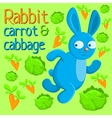 Running rabbit with carrot and cabbage vector
