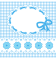 Baby card with blue stripes and flowers vector