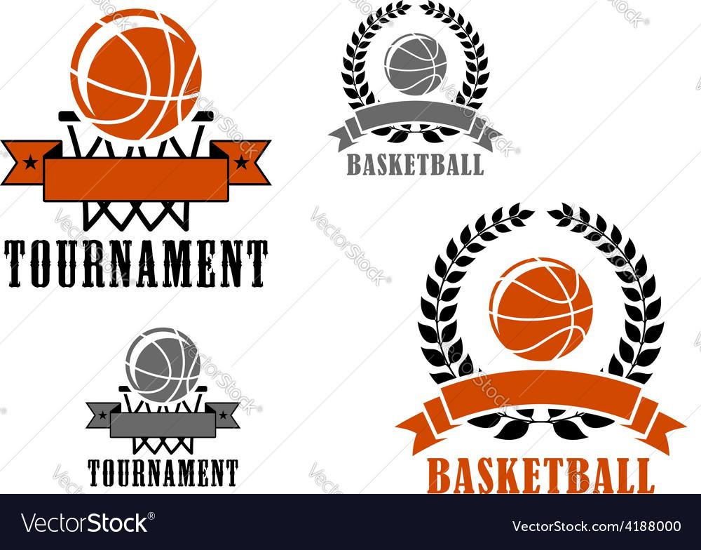 Basketball sport emblems or badges vector | Price: 1 Credit (USD $1)