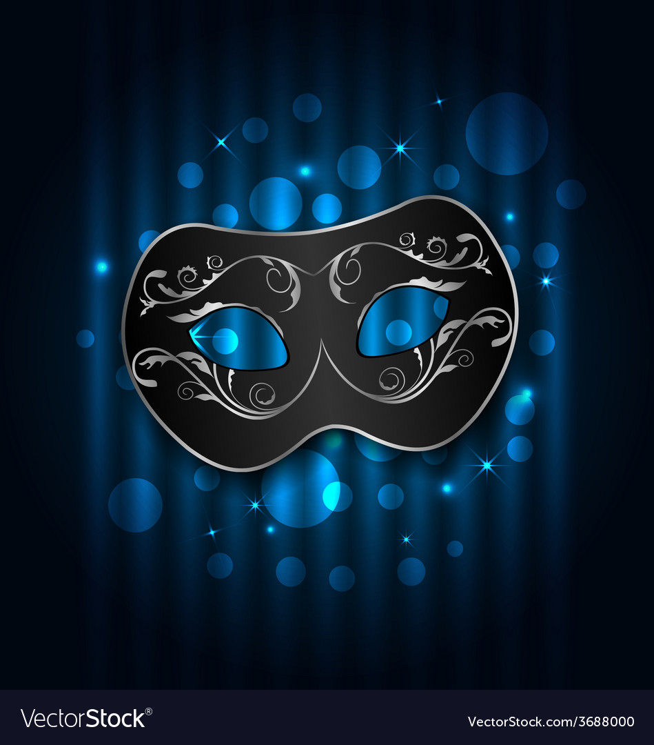 Carnival or theater mask on blue shimmering vector | Price: 1 Credit (USD $1)
