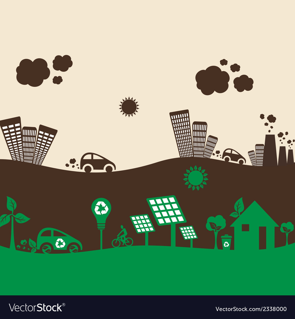 Creative design green and polluted city vector | Price: 1 Credit (USD $1)