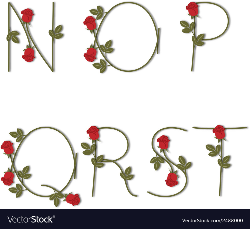 Floral alphabet red roses with shadow from n to t vector | Price: 1 Credit (USD $1)