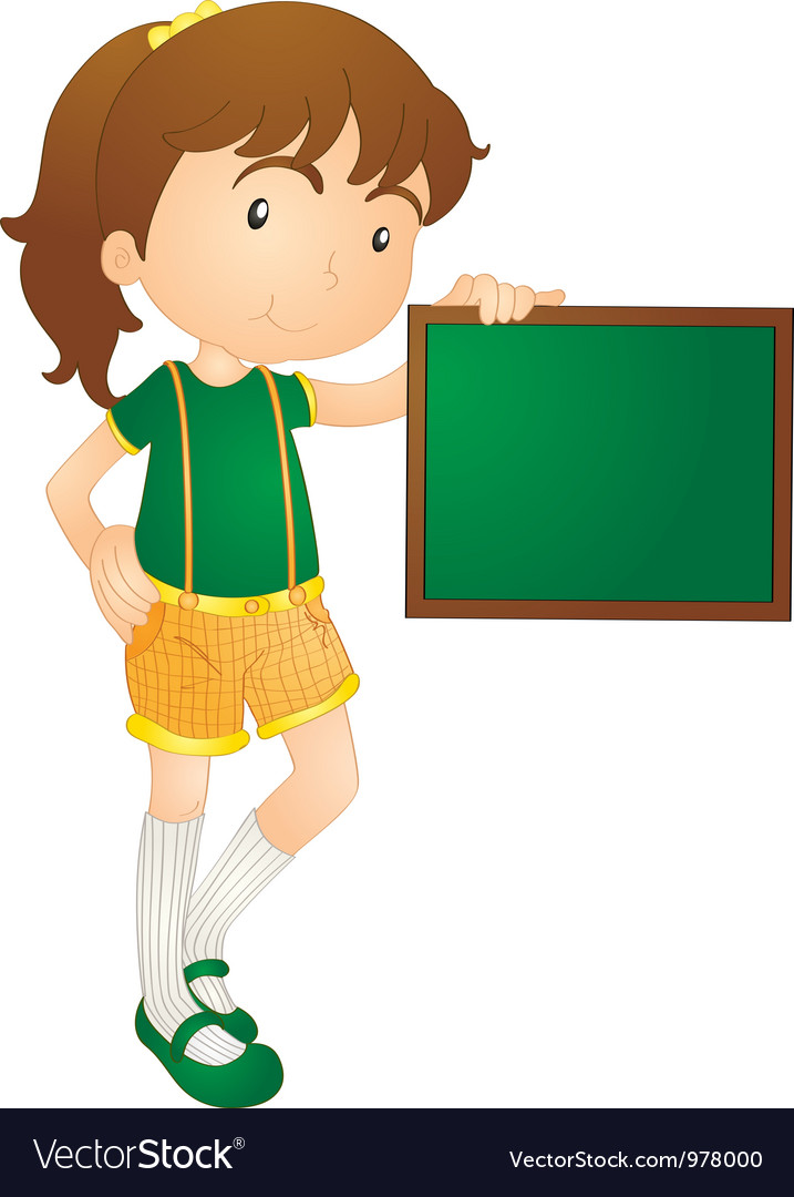 Girl showing board vector | Price: 3 Credit (USD $3)