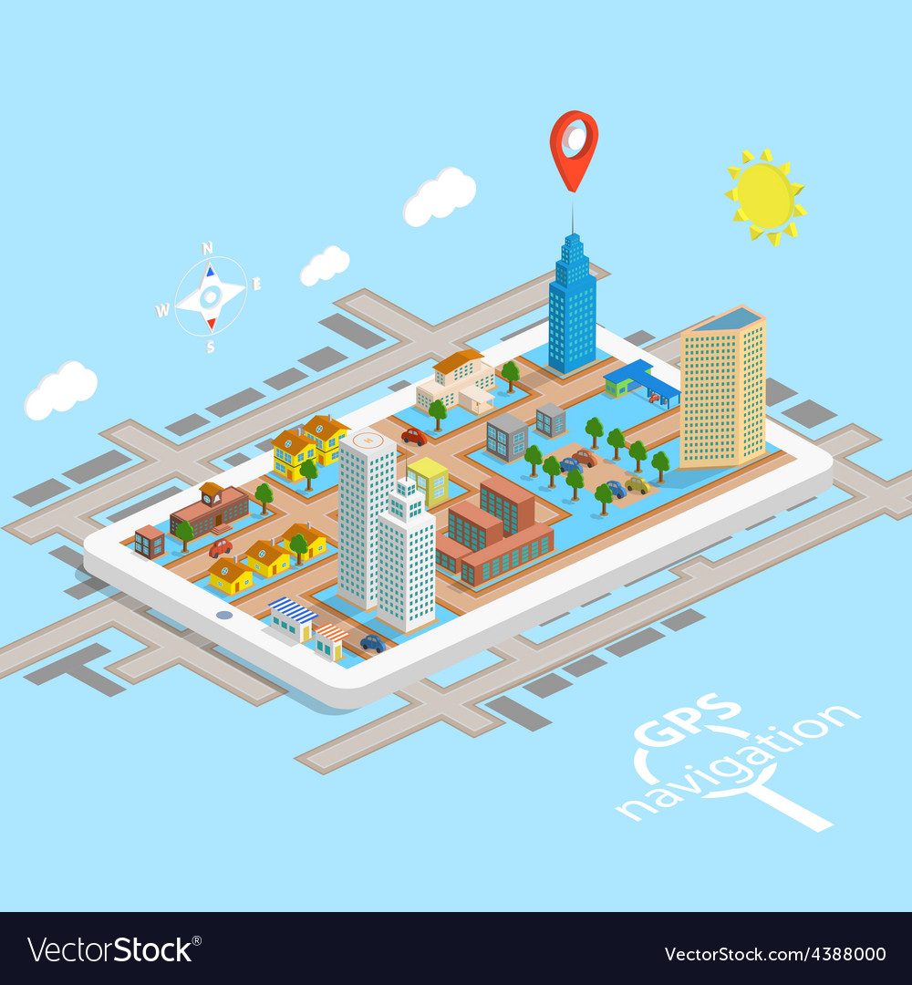 Gps mobile navigation isometric map vector | Price: 1 Credit (USD $1)