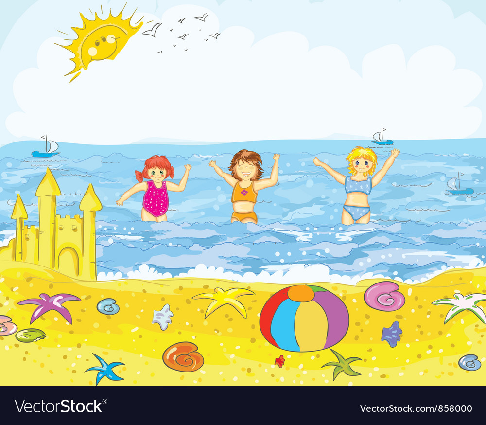 Kids playing on the beach vector | Price: 3 Credit (USD $3)