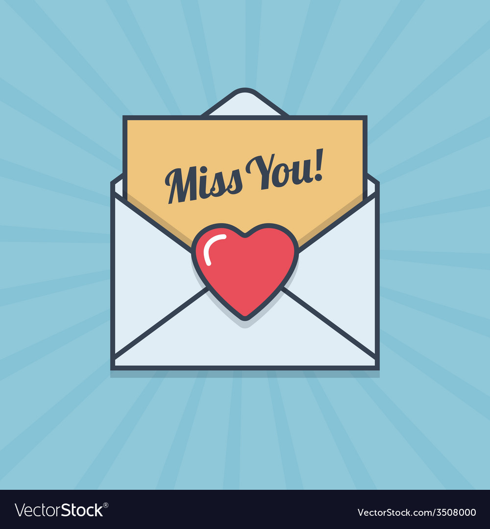 Miss you letter with heart shape in flat style vector | Price: 1 Credit (USD $1)