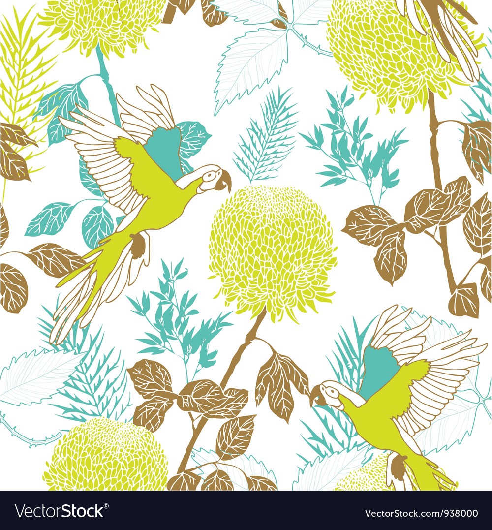 Retro parakeet pattern vector | Price: 1 Credit (USD $1)