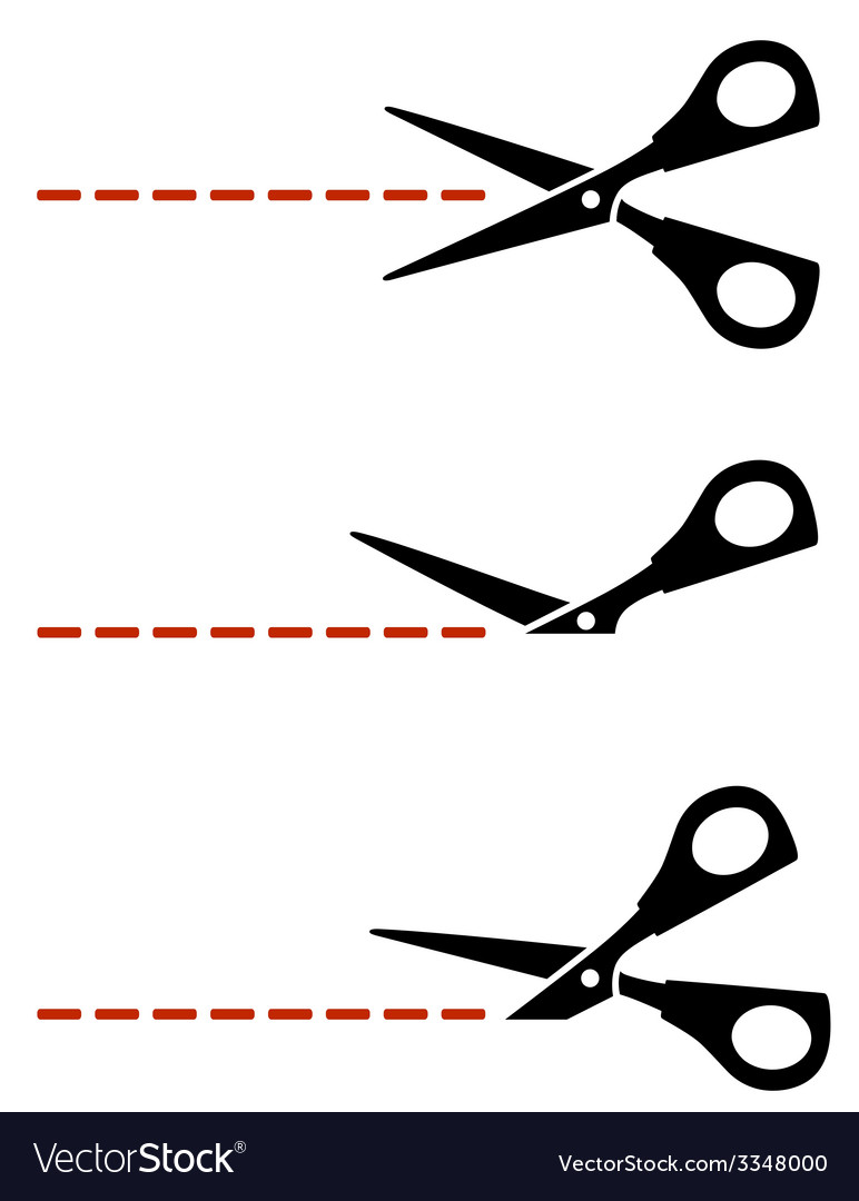 Scissors with red cut lines vector | Price: 1 Credit (USD $1)