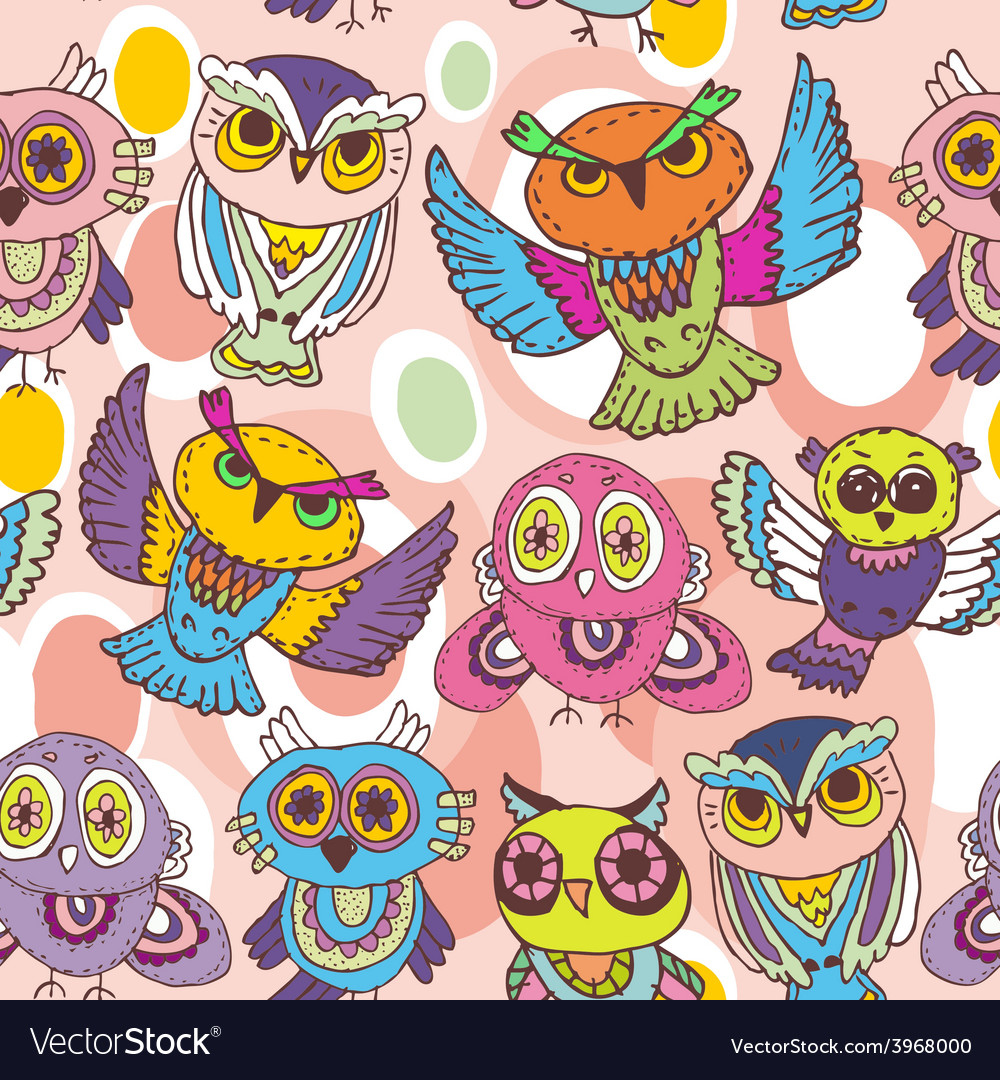 Seamless pattern sketch owls on a pink background vector | Price: 1 Credit (USD $1)